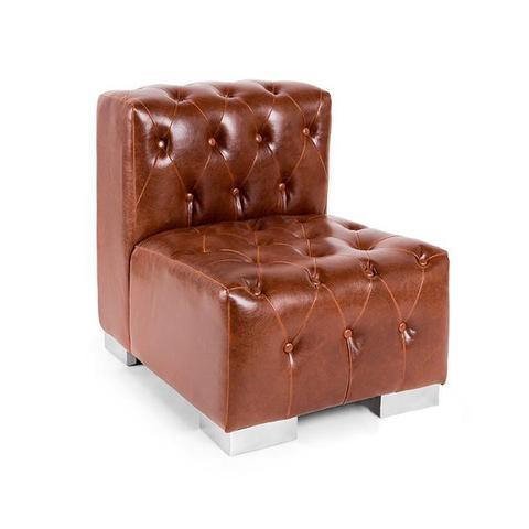 tufted cognac sofa rental
