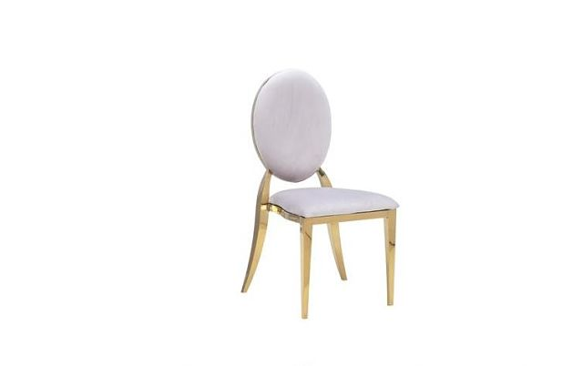 white padded gold chairs