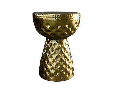 gold drum side table