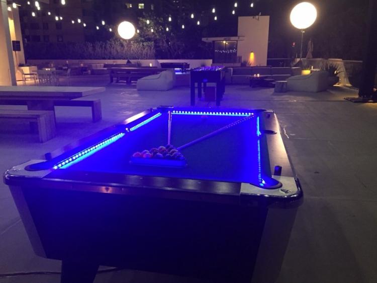 glowing pool table