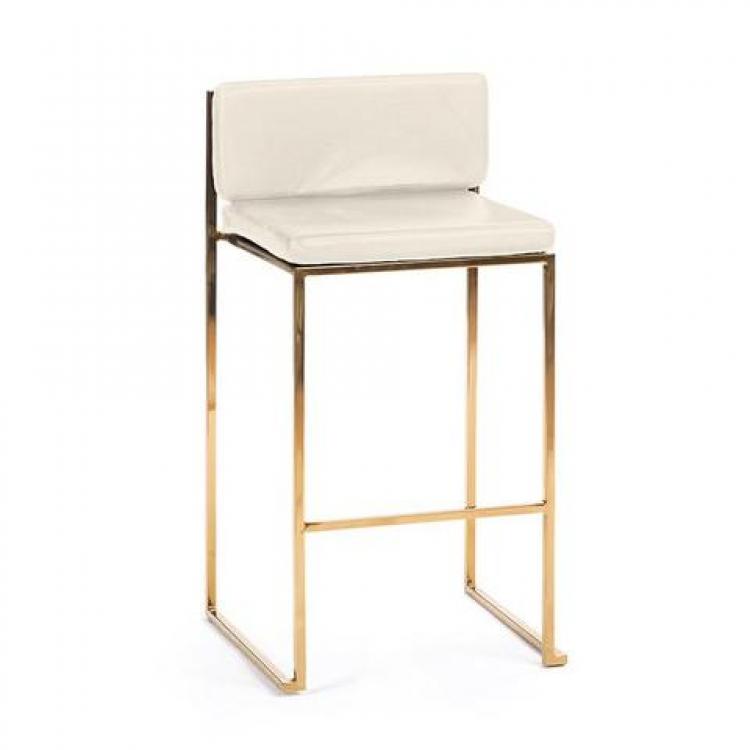 Bar Stool - White Cushion - Paramount Gold Frame