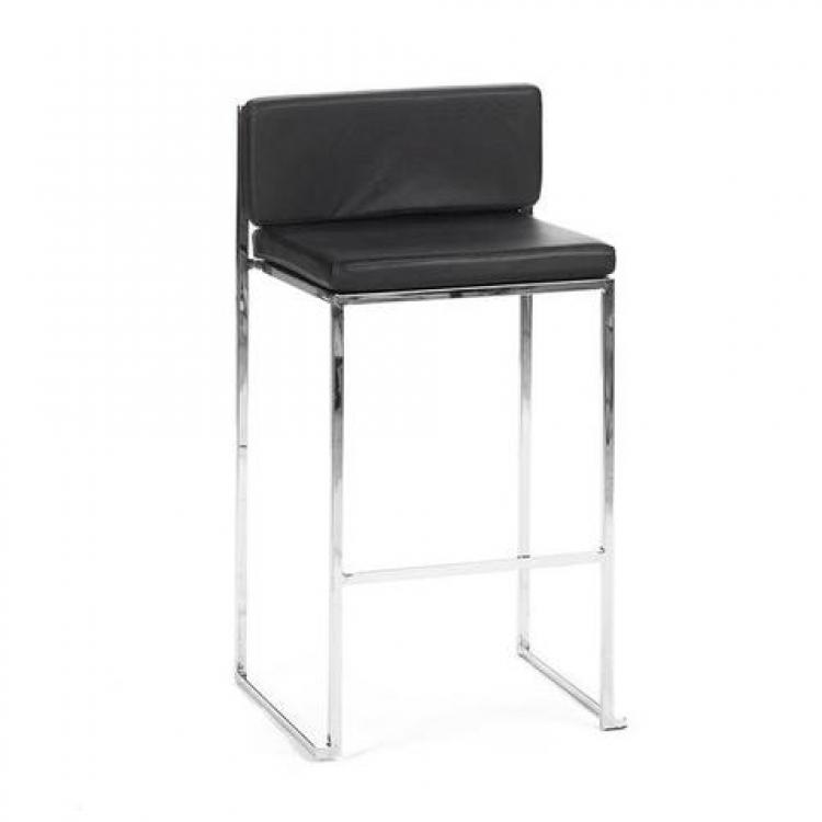 Bar Stool - Black Cushion - Paramount Silver Frame
