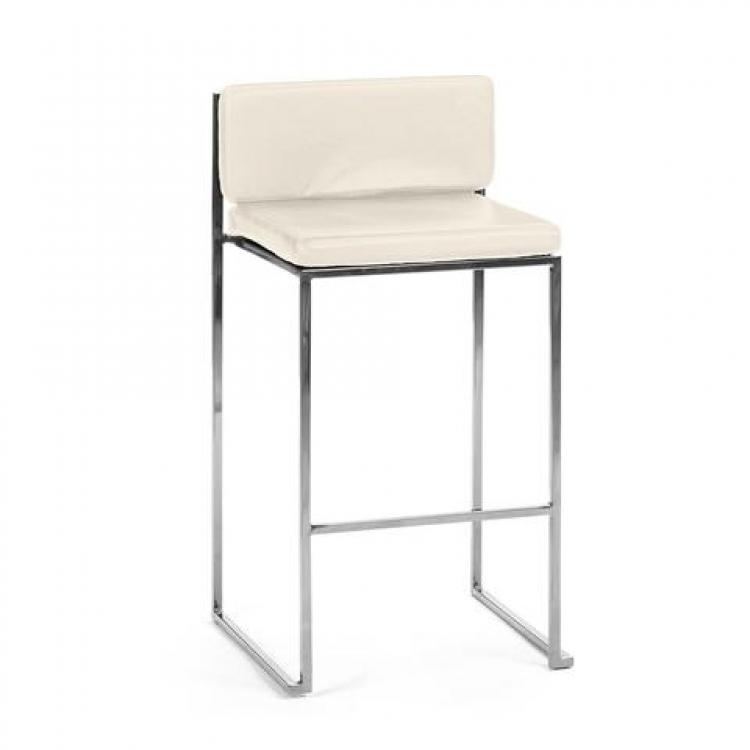 Bar Stool - White Cushion - Paramount Silver Frame