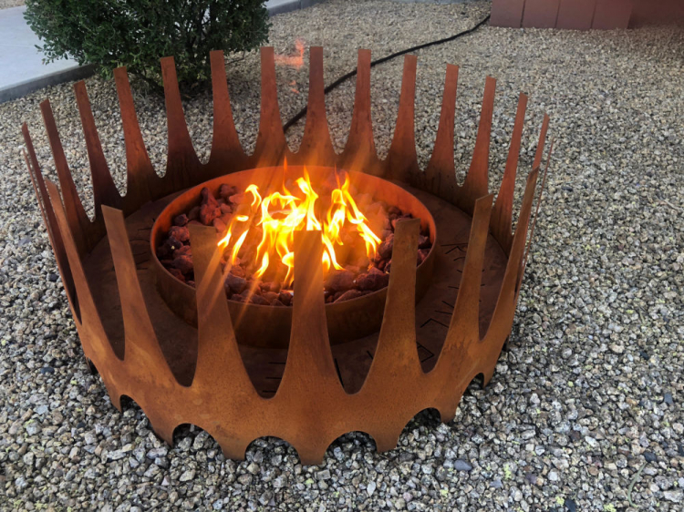 rust colored fire pit rental