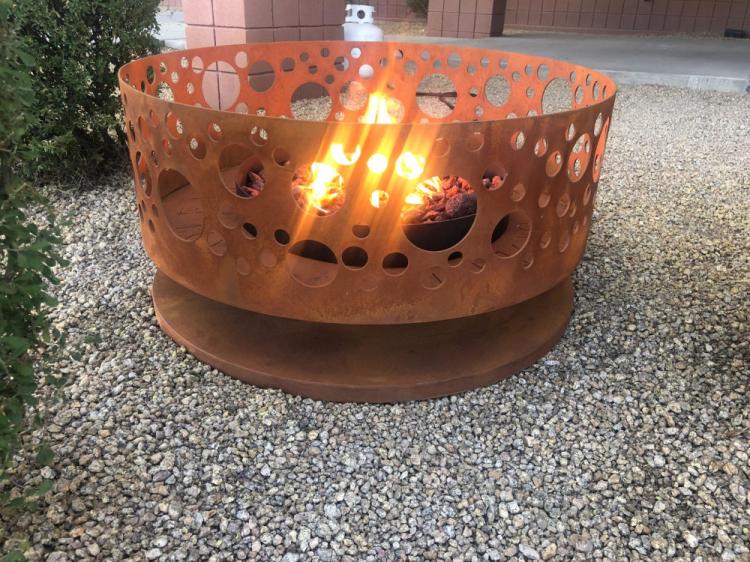 rust finish fire pit