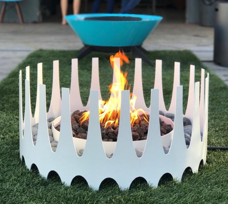 white fire pit rental