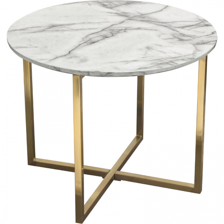 Side Table - Vida Round - Brushed Gold