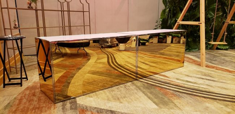Bar - 6ft Straight- Gold Front/Sides/ Stainless Frame