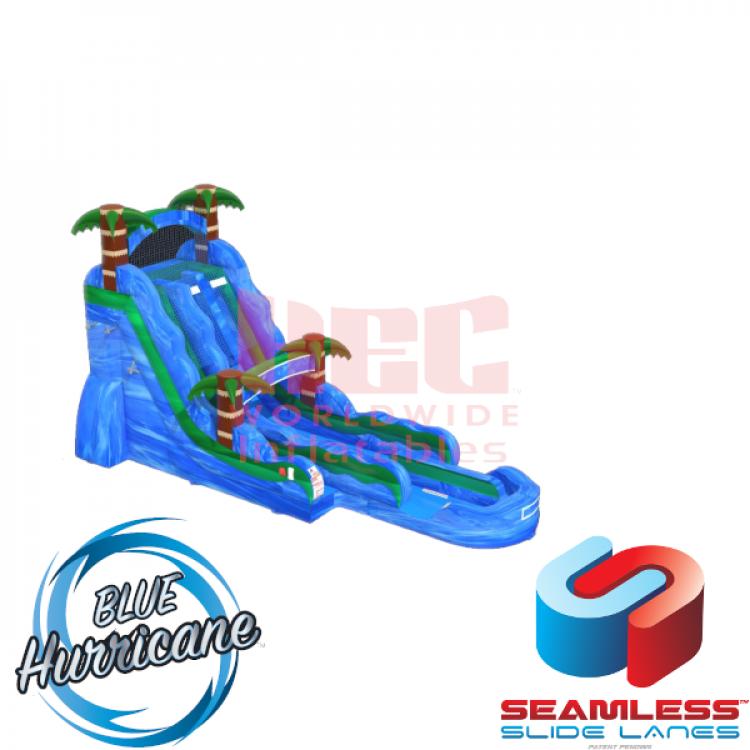 24ft Blue Hurricane Double Lane Water Slide